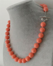 Huge 10mm Genuine Coral Orange Round South Sea Shell Pearl Necklace 18'' AAA