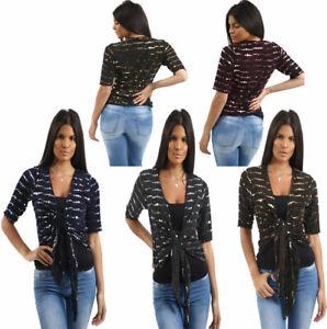Short Sleeves Sequin Tie Up Bolero Shrug Womens Big Spot Shirt Fancy Party Top
