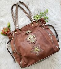 Kathy Van Zeeland Brown Suede Embellished Handbag