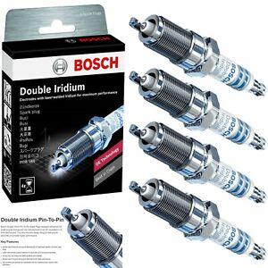 4 pcs Bosch Double Iridium Spark Plugs For 2011-2015 HYUNDAI SONATA L4-2.4L