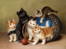 Stunning oil painting lovely and cute animals 5 cats Five kittens playing basket