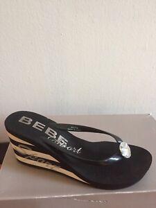 "Women's Black BEBE 3"" Platform Rhinestone Flip Flops Sandals Sz 7/8"