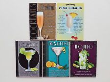 Art Decó coctel Recipes Tiki Bar Cocina Pub ORIGINAL Imán de nevera SET REGALO