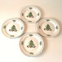 "HOLIDAY HOSTESS SET 4 SALAD DESSERT PLATES 8 ""D HOLLY BERRY CHRISTMAS TREE TOYS"
