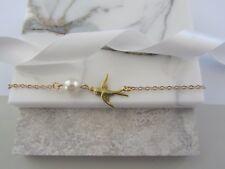 Delicate Bird Charm Bracelet Gold Plate Bracelet Bridesmaid Gifts Swallow Bird
