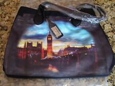 "SHARIF Black Moroccan Twill & Leather ""LONDON"" theme TOTE ~ NWT in package!!"