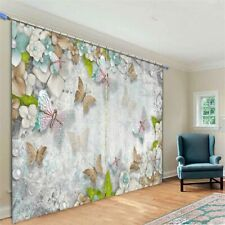 Pink Butterfly Wall 3D Curtain Blockout Photo Printing Curtains Drape Fabric