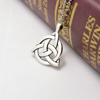 2017 Silver Plated Celtic Triquetra Trinity Knot Pendant Long Chain Necklace
