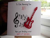 Handmade Personalised Guitar Male Birthday Card Son Dad Boyfriend Husband