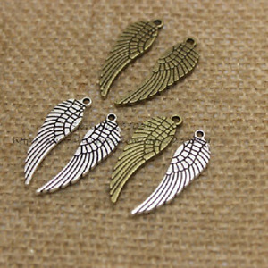 3 Pcs Wing Component Jewellery Making Craft Charm Angel Design Bronze Silver