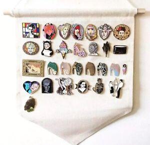 White Canvas Enamel Pin Display Banner Pendants Brooches hanging pinbacks tac