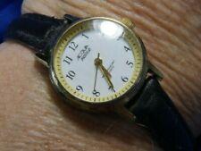 Acqua indiglo N9 gold tone black leather band estate WATCH fresh battery 10/20