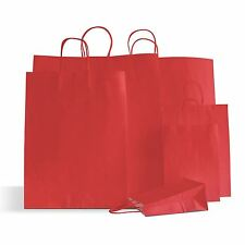 30 x Cherry Red Paper Party Bags Twisted Handles 18x25+8cm Birthday Wedding Gift