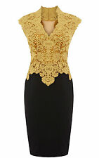 Karen Millen Yellow Gold Stunning Heavy Cotton Lace Wiggle Pencil Dress Size 12