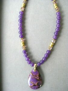 Purple Crazy Lace Agate Pendant with Purple Agate Beads