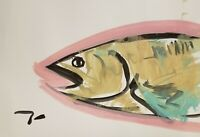JOSE TRUJILLO ART Acrylic Painting Primitive Expressionism FISH ABSTRACT 13X19""