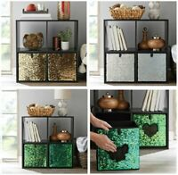 Glitter Reversible Sequin  Storage Cube Bin Basket Box Collapsible Home Decor