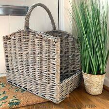 Large Grey Wash Willow Log Basket with Handles Fireside Log Storage Log Burner