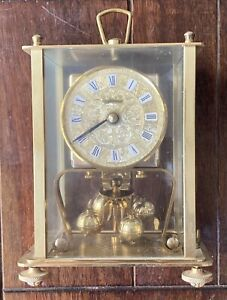 FOR PARTS ONLY, AS/IS KERN Vintage Brass Pendulum Anniversary Rectangular Clock