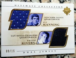PHILIP RIVERS ELI MANNING 2004 ULTIMATE GOLD ROOKIE CARD RC SP 08/15 DUAL JERSEY