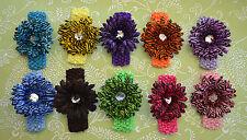 20Pc Zebra 10 Daisy Flower Clip + 10 Crochet Headband Baby shower Gift Wholesale