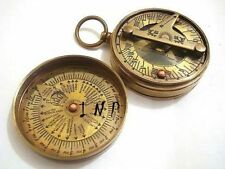 Hand Crafted Brass Antique Sundial Compass Brown Colour Pocket Compass