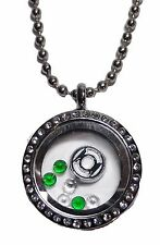 DC Comics Green Lantern Round Crystal Floating Charms Locket Necklace