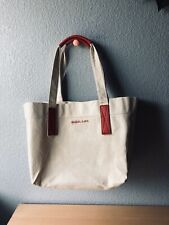 New HTF Michael Kors Canvas Tote Handbag Purse Red Leather Accent