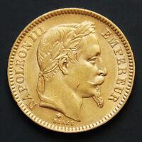 Piece or 20 francs or Napoléon III tête laurée années variées gold coin France