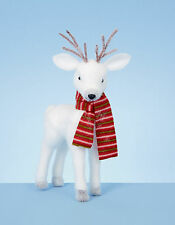 White Standing Reindeer Christmas Decoration | Display | Gift 50cm red Scarf