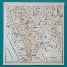 "1905 BAEDEKER MAP - HOLLAND Utrecht City Plan 6 x 6"" (15,5 x 15,5 cm)"