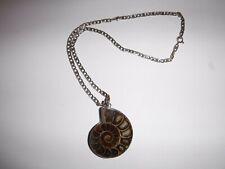 "Snail Ammonite Fossil Pendant Sterling Silver Italian 18"" Chain"