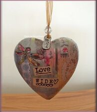 LOVE WIDE HEART ORNAMENT BY KELLY RAE ROBERTS FREE U.S. SHIPPING