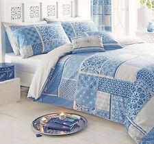 Dreams N Drapes Shantar Patchwork Printed Duvet Cover and Pillowcase Set Double China Blue