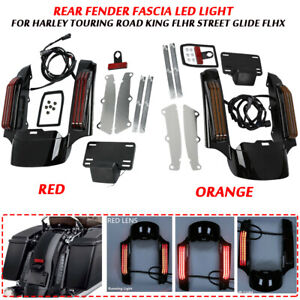 Red/Orange Rear Fender Fascia LED Light For Harley '14-later Touring models