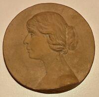Constant SEVE - Rare Médaille épreuve Art Nouveau à Buste de Femme Ø:10cm