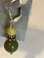 Sterling silver and natural green gemstones and silver spacer beaded earrings