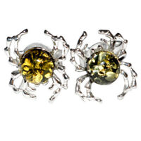 1.34g Crab Authentic Baltic Amber 925 Sterling Silver Earrings Jewelry N-A8459A