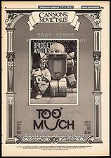 CANNON MOVIE TALES__Original 1986 Trade AD promo__TOO MUCH__Bridgette Andersen