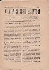 L'Avvenire degli Educatori - N° 8 del 6/7 Gennaio 1885 - Nuova, mai letta