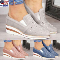 Women Suede Rhinestone Platform Wedge Heel Shoes Casual Loafers Pumps Shoes Size