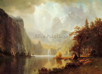 BIERSTADT ALBERT IN THE MOUNTAINS ARTIST PAINTING OIL CANVAS REPRO WALL ART DECO