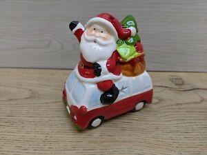 Santa Camper Van Ceramic Christmas Decoration Figurine