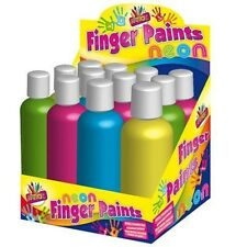 6 Bottles of Neon Bright Finger Paint Safe Tubs 200ml Bottle Kids Easy Wash 5108