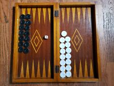"""Old Antique Backgammon Game board 19"""" with Black & White Chips 19thC"""
