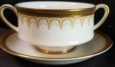 Paragon ATHENA GOLD BORDER BLACK DOTS Cream Soup/underplate (multiple available)