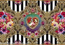 Fototapete verspielte Blumen Bordüre Glitter Chi Chi Melli Mello gold 8-950
