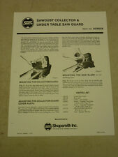 SHOPSMITH SAWDUST COLLECTOR & UNDER TABLE SAW GUARD OWNERS MANUAL, 505628