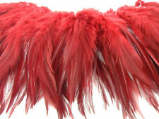 "25+ RED DYED FURNACE ROOSTER CRAFT HAIR EXTENSION FEATHER 5""-6""L"