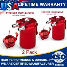 2Packs Oil Catch Reservoirs Breather Can Tank With Filter Kit Cylinder Aluminum